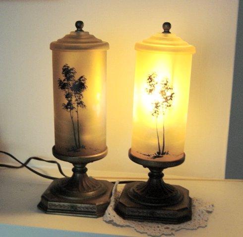 Antique Fancy Art Noveau Brass/Amber Shades Lamps Ca 1920's