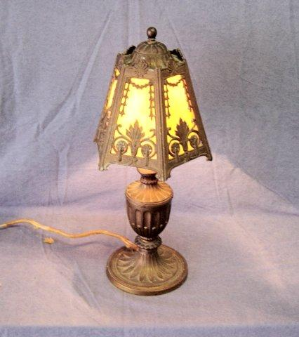 Antique Art Glass Panel Greco Style Lamp