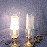 Antique Candle Bulb Lamps With Etched Chimneys