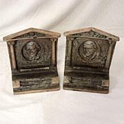 Antique James Whitcomb Riley Bronze Cast Iron Book Ends