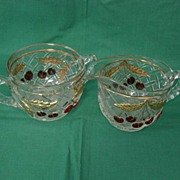 Cherries And Gold Lattice Glass Creamer And Sugar