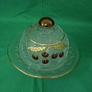 Cherries And Gold Round Butter Dish