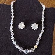 Vintage Faceted Crystal Necklace/ Earrings