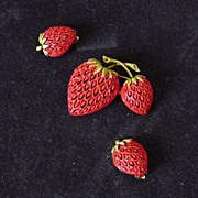 Vintage Enamel Open Lace Double Strawberries Brooch And Earrings