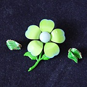 Enamel Green Flower Brooch And Earrings