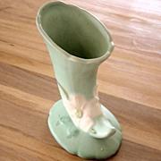 Vintage Weller Green Matte Wild Rose Cornucopia Vase