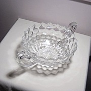 American Fostoria Double Handle Clear Glass Serving Bowl