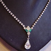 Large drop Teardrop Stone With 2 Emerald Color Stones Necklace