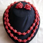 Vintage Molded Plastic And Beads Necklace &Earrings Coral Color Set