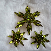 Vintage 6  Pointed Green Judy Lee Brooch And Earrings Set