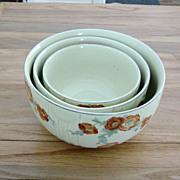 Vintage 3 Piece Set Of Hall's Orange Poppy Mixing Bowls