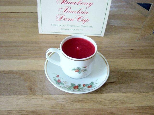 Vintage Avon Strawberry Porcelain Demi Cup Candlette