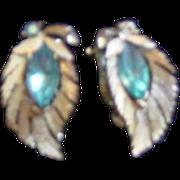 Lisner Gold Leaf with Aqua Blue Navettte Stone earrings