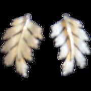Trifari Brushed Gold Leaf Design Earrings