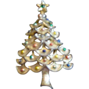 Gerry Gold With Colored Painted Balls Christmas Tree Pin