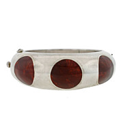 Vintage Mexican S/S Hinged Bangle Bracelet Inlaid w/Bakelite