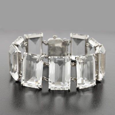 Vintage Sterling & Rock Quartz Crystal Link Bracelet