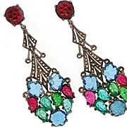 Art Deco Carved Glass, Marcasite & Sterling Silver Earrings