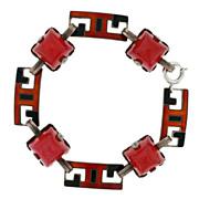 Art Deco Sterling Enamel & Carnelian Link Bracelet