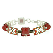 Art Deco Sterling Enamel & Carnelian Bracelet