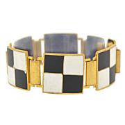 Vintage Signed Black & White Checkerboard Enamel Bracelet