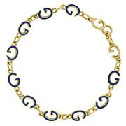 Vintage Signed Gucci 18kt & Enameled G Link Bracelet