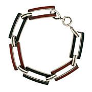 Art Deco Sterling & Enamel Link Bracelet