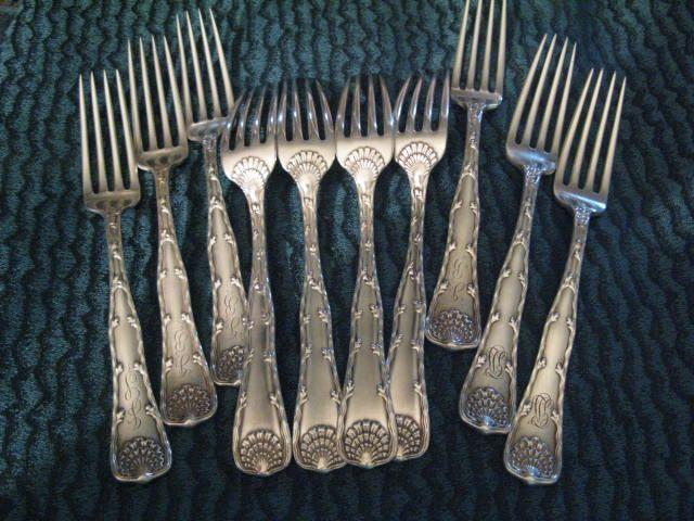 Large Tiffany Sterling Wave Edge (8 inch) Dinner Forks