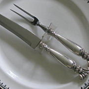 """Huge """"ROMANCE of the SEA"""" Sterling Silver Roast Carving Set"""