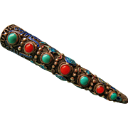 SALE Turquoise Coral Chinese Cloisonne Fingernail Guard Brooch