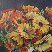 Floral Oil Painting on Board, signed