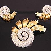 Ledo 1950's-60's Rhinestone Nautilus Brooch & Earrings