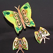 Matisse 1950's Green Enameled Copper Butterfly Brooch & Earrings