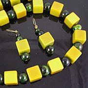 Bakelite Marbled Green Spheres & Apple Green Cubes Necklace & Earrings