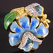 SALE Unsigned Coro Blue Enamel  & Rhinestones Lotus Flower Dress Clip