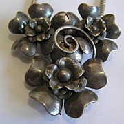 Silver on Brass Flower Necklace Doubles as Fur Clip