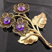 Pretty Purple Rhinestone Circa 1940's Flower Fur Clip