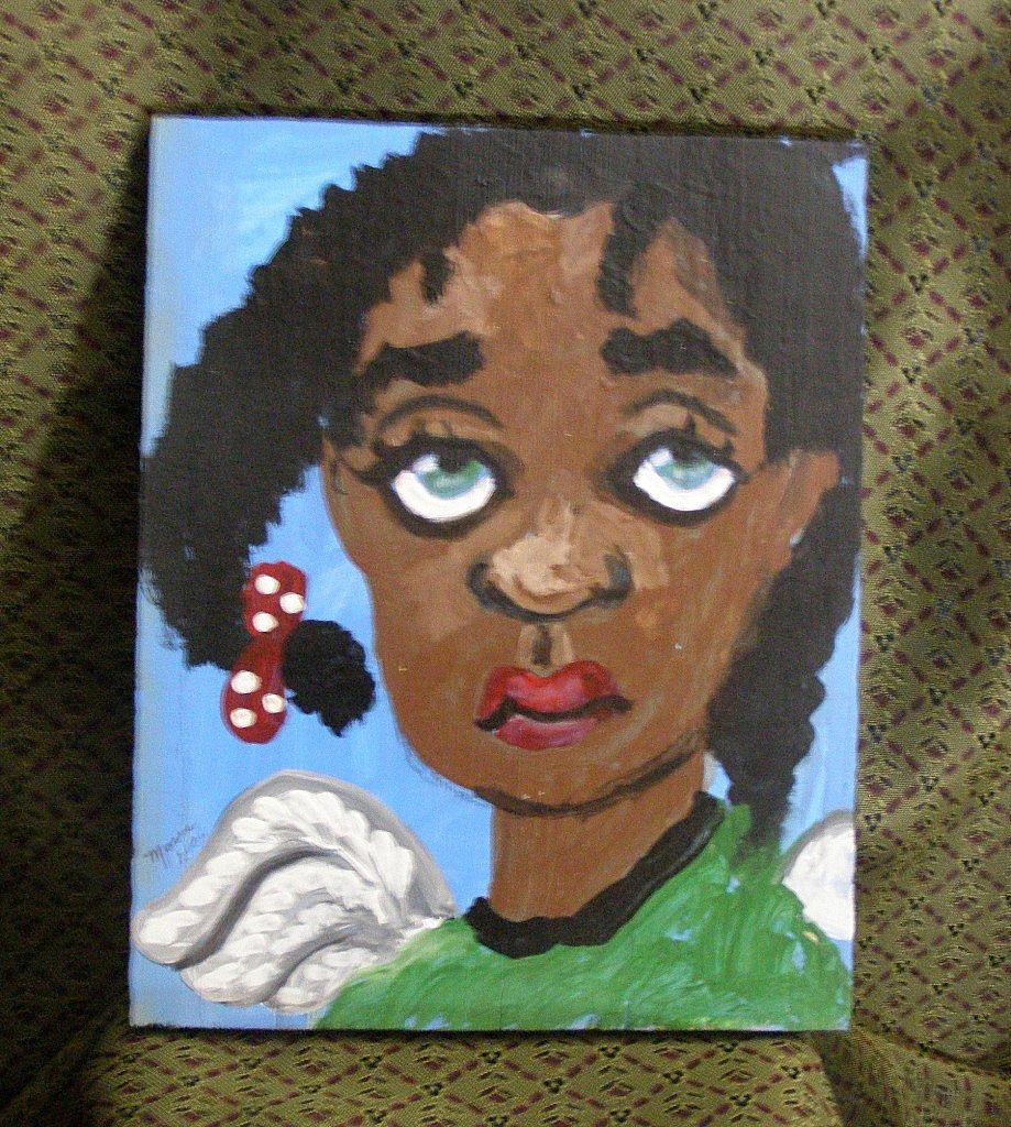 Little Black Angel painting