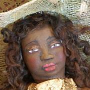 """'Miss Netti"""" One of a kind sculpted Black Folk Art doll"""