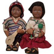 Adorable  brother and sister dolls with molded cloth face