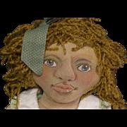 Black Folk Art cloth doll~ Adorable! One of a kind.