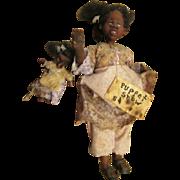 Adorable primitive Black doll with her puppet OOAK sculpt