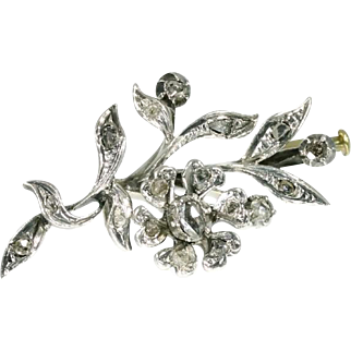 SALE Antique flower diamond brooch pin silver 14k rose gold c.1880