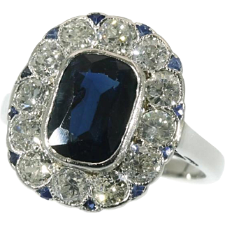 SALE Sapphires and Diamond Platinum Ring c.1920