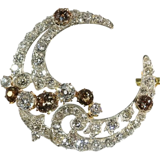 SALE Diamond Crescent Moon Brooch Victorian c.1880