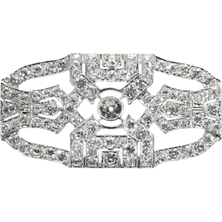SALE Art Deco Diamond and Platinum Brooch c.1920