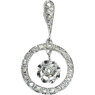 SALE Art Deco Diamond and Gold Pendant France c.1920