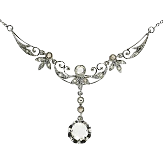 SALE Antique Diamond and Gold Flowery Necklace c.1900