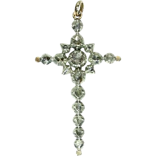 SALE Diamond and Gold Cross Pendant ca.1860