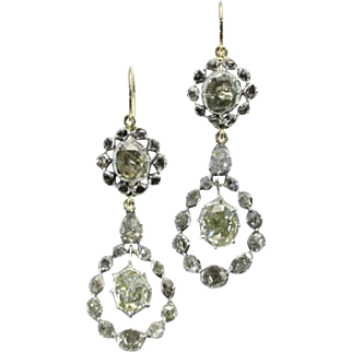 SALE Antique Diamond Dangle Earrings ca.1830